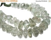 SALE Green Amethyst Beads, Faceted Nuggets, Prasiolite Beads, 10mm, Faceted Step Cut Nuggets, SKU 4331A
