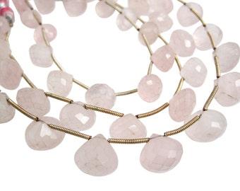 Rose Quartz Briolettes, AAA Rose Quartz Beads, Onion Briolettes, 10mm to 11mm, SKU 3777