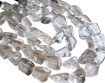 Tourmalated Quartz Beads, Luxe AAA, Faceted Nuggets, Tourmalinated Quartz, 15mm x 27mm, SKU 1442A