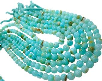 Blue Peruvian Opal Beads, Peruvian Opal Beads, Blue Opal Beads, Round, Aqua Gemstone, Wholesale Opal, SKU 4937