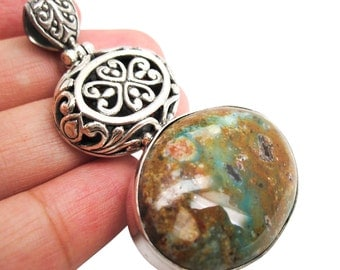 Silver Turquoise Pendant, Sterling Silver Pendant, Turquoise Pendant, Handmade in Bali, SKU 3799