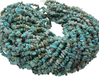 Turquoise Chips, Turquoise Beads, 17 Inch Strand, Green Blue Turquoise, December Birthstone, SKU 5135A