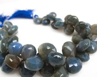 Blue Chalcedony Briolette Beads, Cobalt Blue Chalcedony, 10-11mm, Heart Briolettes, SKU 3023