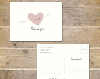 Thank You Postcards, Bridal Shower Thank You Post Cards, Wedding Thank You Post Cards, Personalized Post Cards, Heart and Arrow, Hand Drawn
