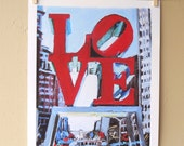 Philadelphia Love Painting Art Cityscape Giclee Art Print from Painting,  LOVE Park, red blue Urban Fine Art  by Gwen Meyerson