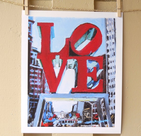 Philadelphia Love Painting Art Cityscape Giclee Art Print from Painting,  LOVE Park, red blue Urban Fine Art  by Gwen Meyerson