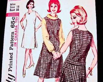 1960s Jumper Dress Pattern Misses size 18 UNCUT Long Sleeve Blouse, A line Jumper, Sleeveless Dress Vintage Sewing Pattern
