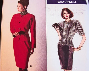 1980s Vogue Pattern Jacket and Skirt Pattern Misses' Dress Size 12 14 16 UNCUT Lined Jacket, Straight Skirt Vintage Sewing Pattern