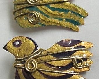 Holiday Pin. Christmas Pin. Copper Dove Xmas Pin. Xmas Brooches. ONSALE.