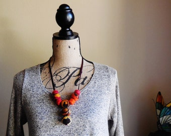Wearable Art...Fiber Art...Unique Gift...Temptation ... Necklace ... Hand Felted Beads ... Two in One...