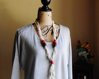 Necklace...Modern Necklace..Hand Made Necklace...Yarn and Beads Necklace...Bohemian Necklace...Yarn and Wood