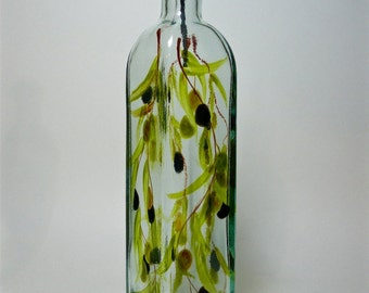 Olive oil bottle hand painted with muted olives