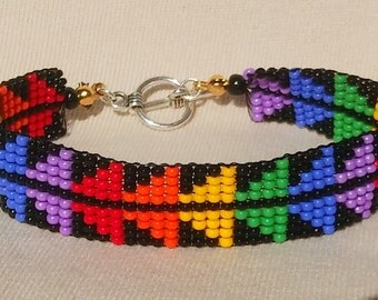 STURGEON Basket Weave Design.  Rainbow. Gay Native. Two-Spirit. LGBT. Yurok Hupa Wiyot Karuk Tolowa - Loomed Beaded Bracelet