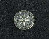 Compass Charm, Silver antiqued,  15251CS