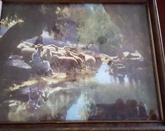 Vintage Antique Framed Print Shepherd With Sheep Unsigned