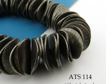 16mm Potato Chip Beads Brushed Antiqued Silver Plated Large Wavy Disks (ATS 114) 74 pcs  Full Strand BlueEchoBeads