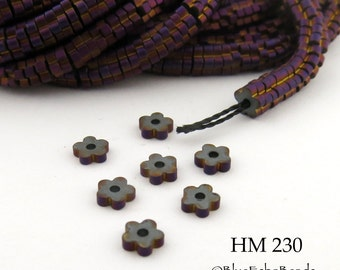 3mm Tiny Matte Magenta Hematite Flower Heishi Beads Small 3mm x 1mm Full Strand (HM 230) BlueEchoBeads