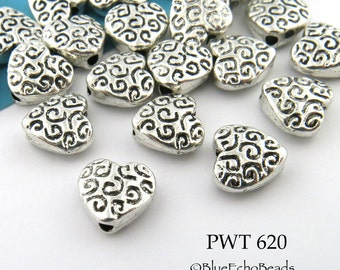 Small 9mm Pewter Heart Beads Pewter with Curls (PWT 620) 15 pcs BlueEchoBeads