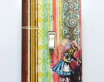 Alice in Wonderland double switch covers w/ MATCHING SCREWS- Alice wall plates Wonderland bedroom wall decor Alice bedroom wall decorations