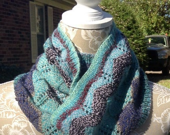 Chevron Knitted Cowl Turquoise, Brown