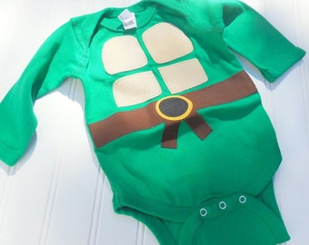 Great Halloween Costume READY TO SHIP Baby Shower Gift Inspired by Teenage Mutant Ninja Turtlessewn cotton applique long sleeve bo
