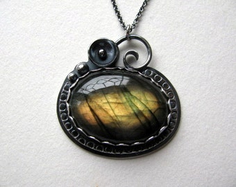 Labradorite Pendant, Handmade Sterling Silver Pendant, Golden Labradorite, Metalwork