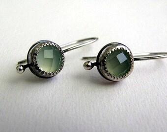 Green Chalcedony Earrings, Sterling Silver Gemstone Earrings