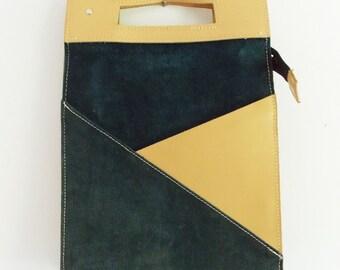 Dutch genuine leather handbag/ European 1990s Design large shoulder bag / lap top travel bag