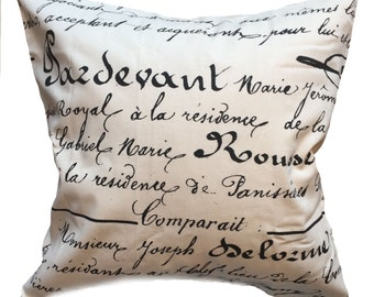 """Black and White French Script Pillow Cover 16"""" Square"""