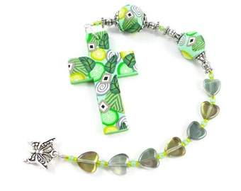 Reflective Hearts Anglican Rosary Protestant Unisex Prayer Beads Chaplet Handmade Polymer Clay Cross Focals Under 25 Dollars Christian Gift