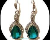 Something Blue Teal Cz Bridal Earrings, Peacock Wedding, Pear Drop Earrings, Cubic Zirconia, Teardrop Jewelry, TWIRL