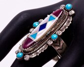 Long Navajo Inlay Ring - Sterling Turquoise Channel Inlaid - sz. 9 Adjustable