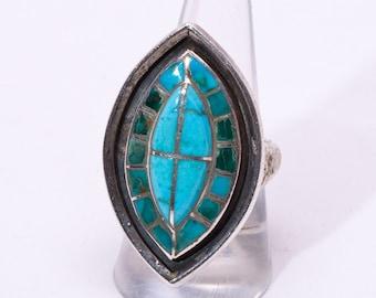 60s/70s Zuni Turquoise Ring - Ellen Quandelacy - Raised Turquoise Inlay - sz 8