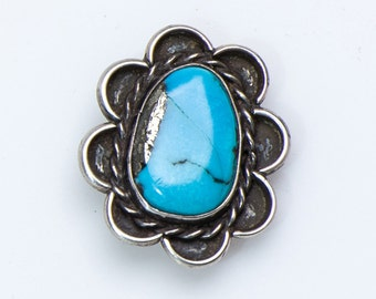 Navajo Pawn Turquoise Ring - 60s Morenci Mine & Sterling -  sz 8