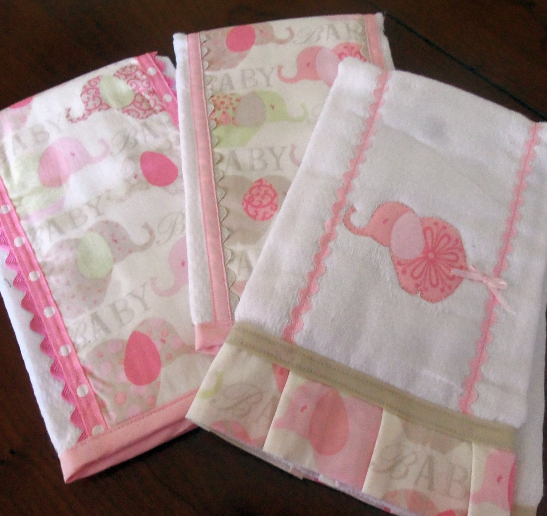 Baby Girl Burp Cloths Baby Elephant Burp Cloth Set of 3 Girl