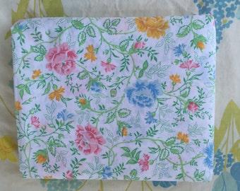 Floral vine full flat vintage sheet, Double flat sheet, Vintage floral pastel sheet