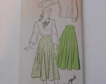 Vintage 30s 40s Blouse and Skirt Pattern New York 257 Size 16 Bust 34  UNCUT