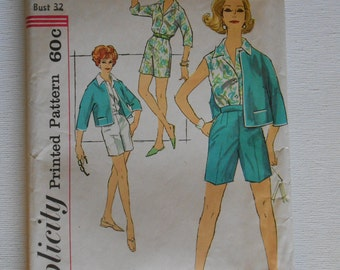 Vintage 50s Front Button Blouse, High Waist Shorts and Boxy Jacket Pattern Simplicity 3012 Size 12 Bust 32