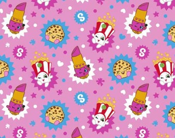 Shopkins Pink Badges Jersey Knit Cotton/ Spandex by the yard