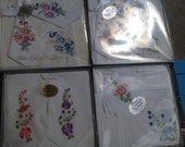 Vintage Hanky Lot Embroidered Handkerchiefs Cotton Boxed NOS 5 Boxes