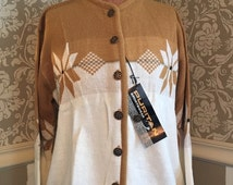 GBYE SUMMER SALE Vintage Puritan Ski Lift Sweater Cardigan Novelty Snowflake Dead Stock Nos S/M 40