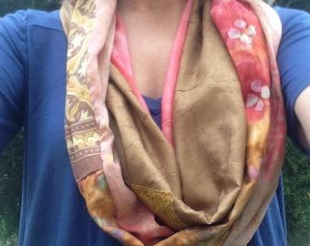 SCARF, women's wearable art long fiber art fashion infinity circle scarf, cotton silk, pink tan gold, bohemian rustic hipster Lhasa i878