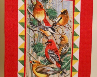 Christmas Quilt / Christmas Bird Quilt / Bird Quilt / Chirstmas Blanket / Holiday Quilt / Christmas Throw