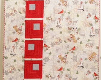 Modern Christmas Quilt / Christmas Quilt / Holiday Quilt / Christmas Blanket / Red /Silver / Gray