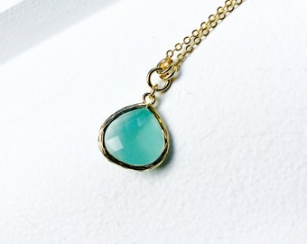 Teal Green - Tear Drop - Crystal Glass Gold Long Necklace