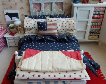 Miniature Dollhouse Americana Full Bedding Set, with Bed 1:12 Scale