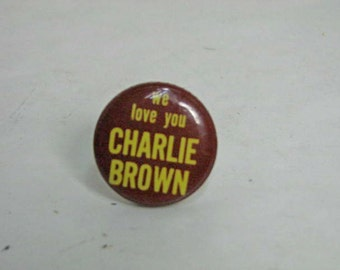 Vintage We Love You Charlie Brown Pin Button Pinback Big Little Store San Francisco 1960s Pin Back Peanuts
