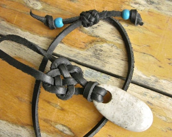 Rock of Gibraltar Leather Necklace