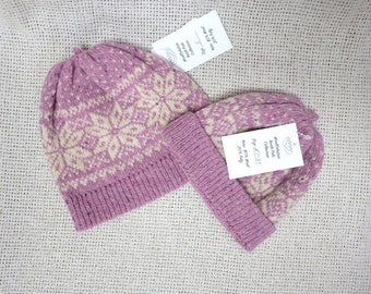 Hand Knit Classic Wool Beanie Hat - Nordic Fair Isle / Snowflake - All sizes available