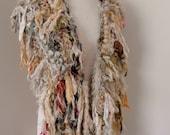 RESERVED recycled silk  chiffon boho chic  tattered wrap handknitted by plumfish